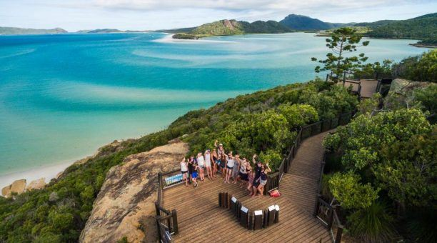 Enjoy the lookout boardwalk overlooking the Whitehaven Beach!